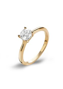 Ring in 18kt verguld zilver, zirconia, 6 mm, solitaire