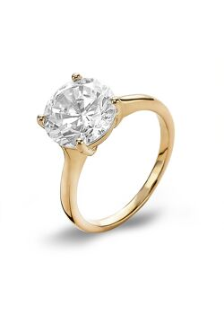 Ring in 18kt verguld zilver, solitaire, 10 mm