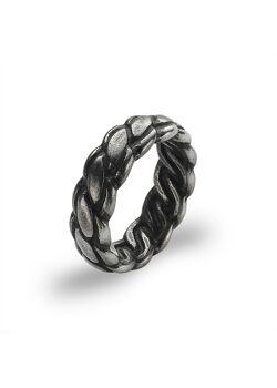Ring in edelstaal, vlecht, zwart