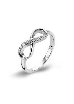 Ring in zilver, infinity met zirkonia steentjes