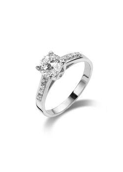 ring in zilver, solitaire met een zirkonia van 6 mm