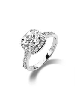 ring in zilver, solitaire met een vierkant zirkonia van 7 mm