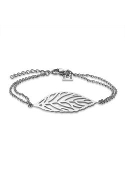 Armband in edelstaal, open blad, 35 mm, dubbele ketting