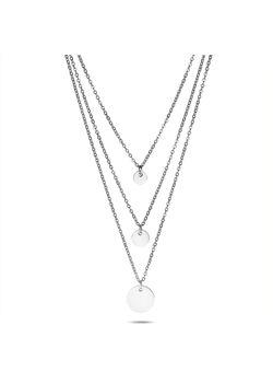 Halsketting in edelstaal, 3 verschillende kettingen, 3 rondjes