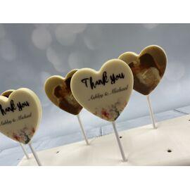 Hart chocolade lolly met gewenste foto, tekst of logo - 5 stuks verpakt