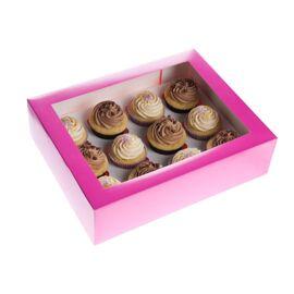 fuchsia/roze - 12 cupcake doos met venster - HOM