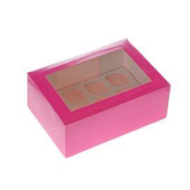 fuchsia/roze - 6 cupcake doos met venster - HOM