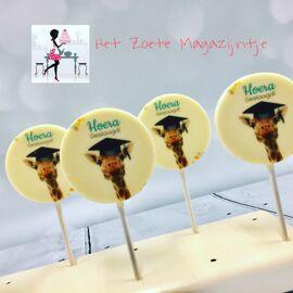Chocolade lolly met gewenste foto, tekst of logo - 5 stuks verpakt