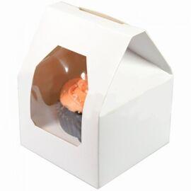 Vensterdoos wit met houder - 1 cupcake - per 20 stuks