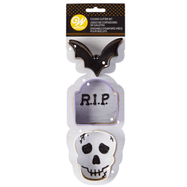 cookie cutter bat-tombstone-skull set