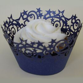 Stars cupcake wrappers - Midnight blue - PME