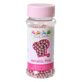 metallic roze - suikerparels 4mm - Funcakes
