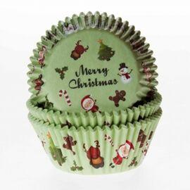 Merry christmas groen - baking cups  - HOM