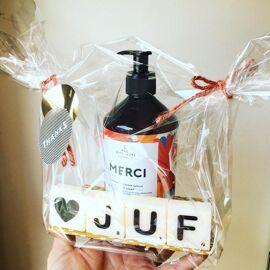Cadeaupakket Juf Merci + kaarsjes