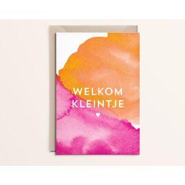 Wenskaart Welkom kleintje - oranje / Kathings