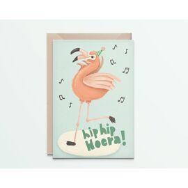 Wenskaart Happy flamingo / Kathings