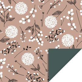 Rol inpakpapier Flowers Big Pink/petrol