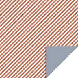 Rol inpakpapier Stripe diagonal Faded red/ice blue