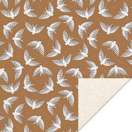 Rol inpakpapier Birds cognac