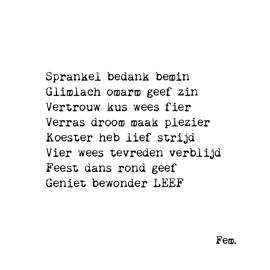 Postkaart Sprankel bedank bemin / Papierpleziertjes
