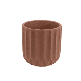 Plant pot Stripes Cement Medium Clay Brown / Present Time