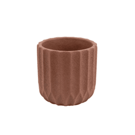 Plant pot Stripes Cement Small Clay Brown / Present Time