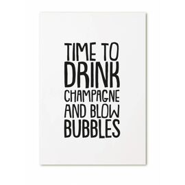 Postkaart Time to drink champagne and blow bubbles / Zoedt