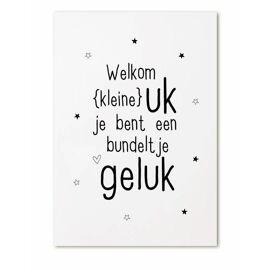 Postkaart Welkom kleine uk, je bent een bundeltje geluk / Zoedt