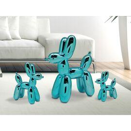 Ballon Hond blauw glanzend keramiek