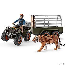 Quad met aanhangwagen en ranger