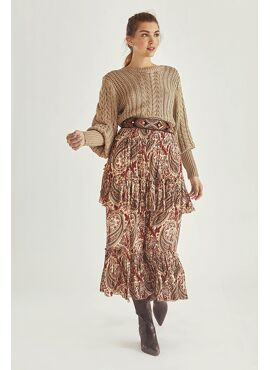 PAISLEY PRINT LONG SKIRT