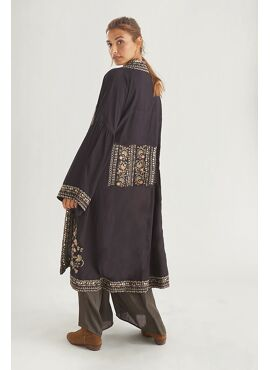 LONG KIMONO EMBROIDERED WITH STUDS