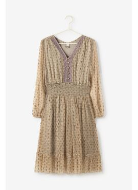 PRINTED CHIFFON DRESS WITH EMBROIDE