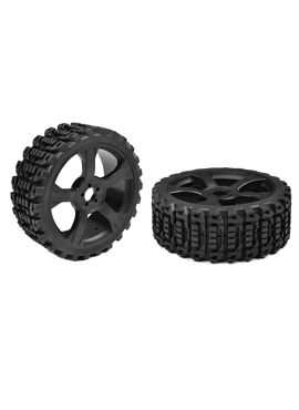Team Corally - Off-Road 1/8 Buggy Tires - Xprit - Low Profile - Glued on Black Rims - 1 pair