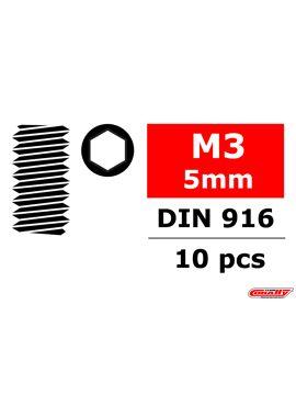 Team Corally - Staal stelschroeven M3 x 5mm - Binnenzeskant - 10 st