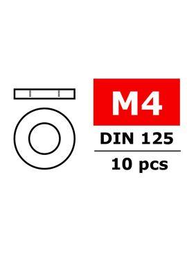 Team Corally - Vlakke sluitring - M4 - Gegalvaniseerd staal - 10 st