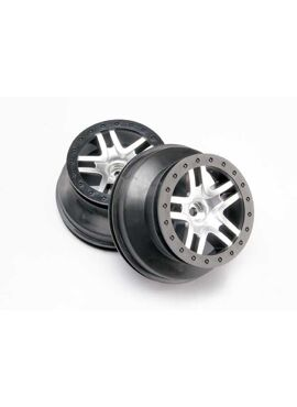 Wheels, SCT Split-Spoke, satin chrome, beadlock style, dual, TRX5876