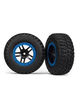 Tire & wheel assy, glued (SCT Split-Spoke, black, blue beadl