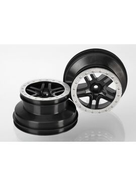 Wheels, SCT Split-Spoke, black, satin chrome beadlock style, TRX5886