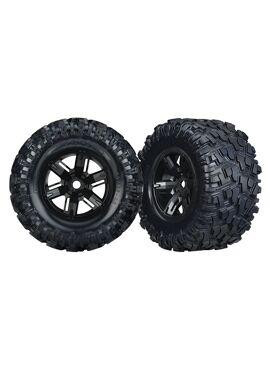 Tires & wheels, assembled, glued (X-Maxx black wheels, Maxx