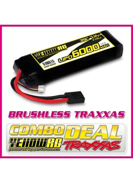COMBO WITH TRAXXAS CAR - Yellow RC LiPo 6000mAh 7.4V 2S 35C