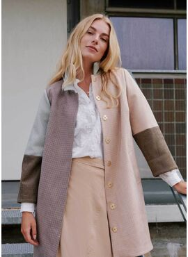 COSTER HOUNDSTOOTH COLOR BLOCK COAT