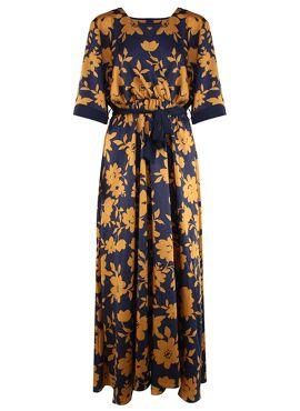 Banjul Maxi jurk met okergele bloemenprint