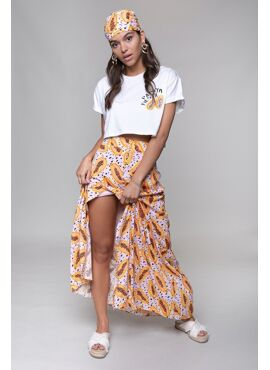 Papaya Fiesta Cropped Boxy Tee