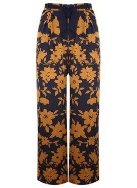 Bangui faux zijden broek met riem en okergele bloemenprint