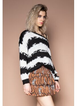 Zwart-wit gebreide trui
