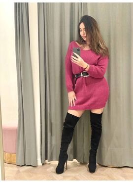 Roze gebreide jurk