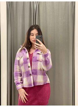 Lila geruite jas/hemd