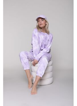 TIE-DYE DROPPED SHOULDER SWEATER WOMEN LILAC