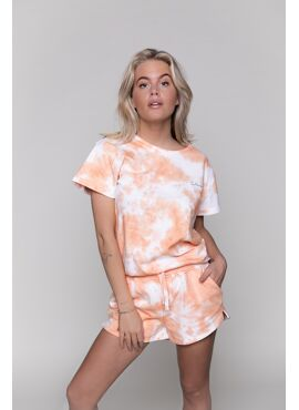 TIE DIE SWEAT SHORT WOMEN PEACH